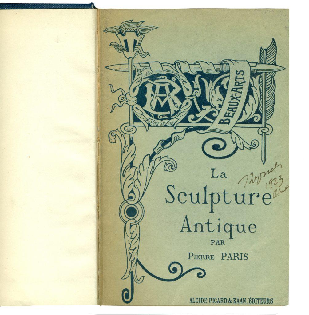 A-III-109 Paris, Pierre – La Sculpture Antique Paris, 1888. Народна библиотека Требиње