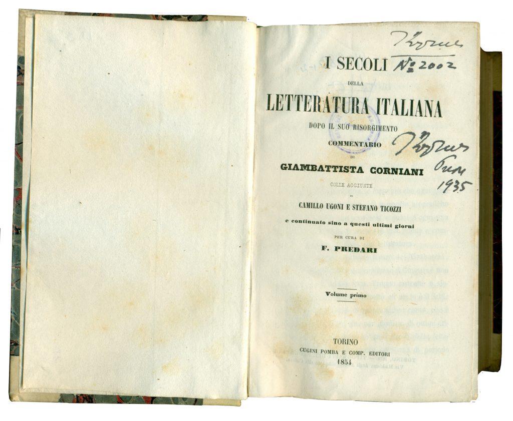 A-III-2831 Carniani, Giamebattista – I secoli della Letteratura Italiana. Vol. 1 Torino, 1854 Народна библиотека Требиње