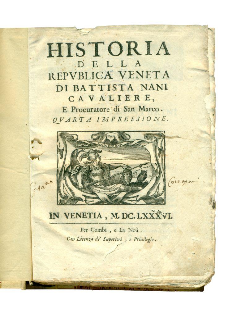 A-III-78 Nani, Battistа – Historia della Republica Veneta. Vol. 1 Venetia, 1686. Народна библиотека Требиње