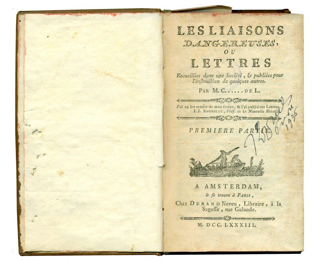 A-IV-11 Laclos, Choderlos de – Les liaisons dangereuses ou Letters Amsterdam, 1783 Народна библиотека Требиње