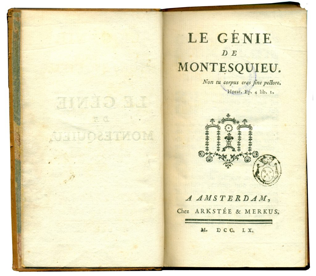 A-IV-13 Montesquieu – Le génie de Montesquieu Amsterdam, 1760 Народна библиотека Требиње