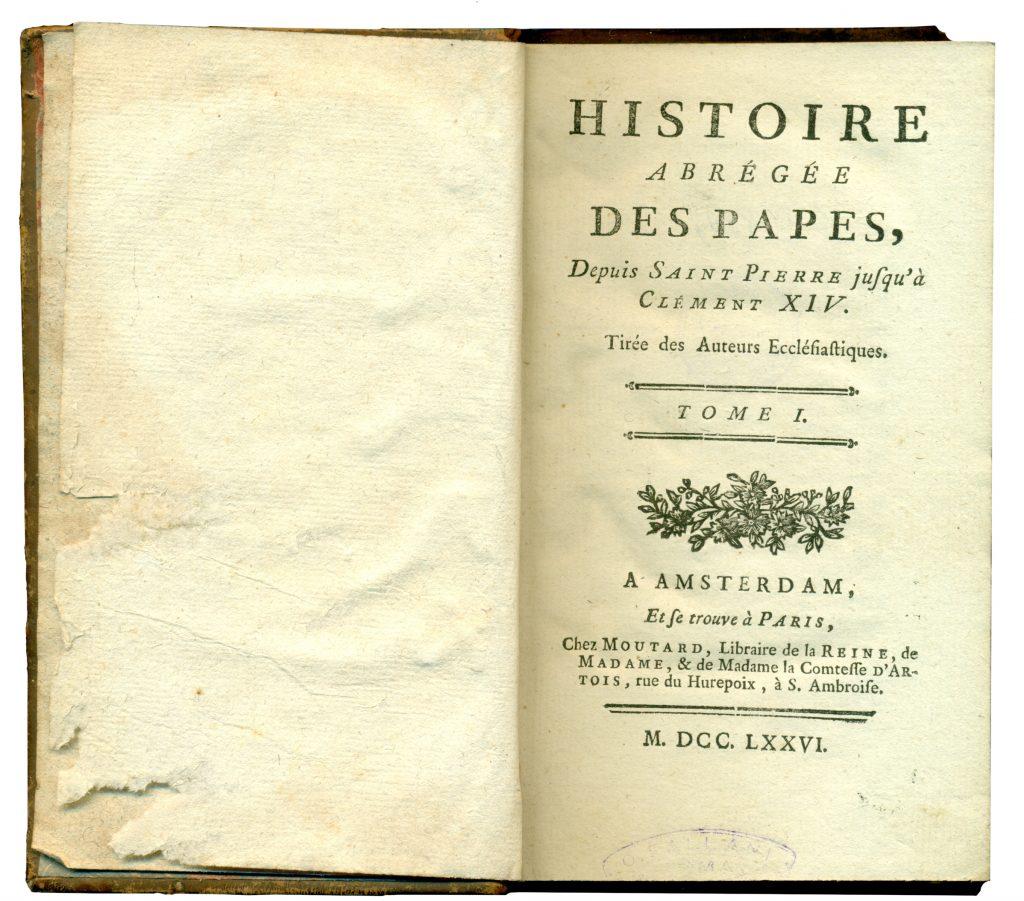 A-IV-489 Histoire aberégée des papes, depuis Saint Pierre jusqu'à Clément XIV. T. 1 Amsterdam, 1776 Народна библиотека Требиње