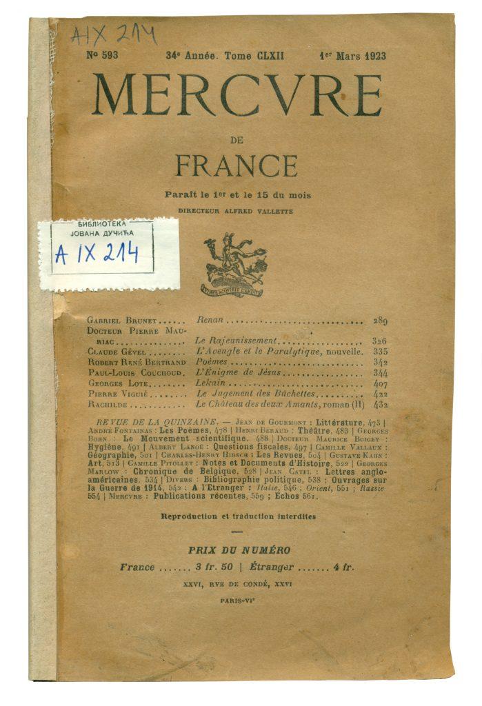 A-IX-214 Mercvre de France, Paris, Année 34, God. 1923, No 592