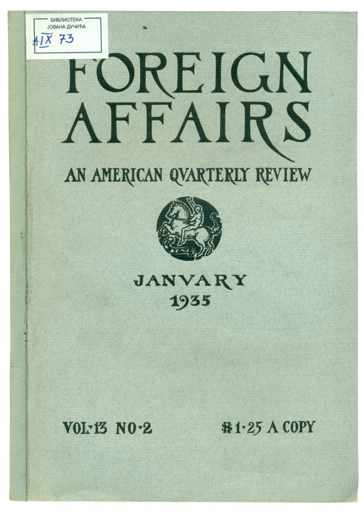 A-IX-73 Foreign affairs, New York, Vol. 13, God. 1935, No 2