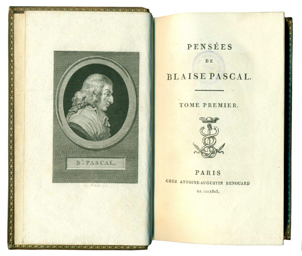 A-IV-33 Pascal, Blaise – Pensées de Blaise Pascal. T. 1 Paris, [s.a.] Народна библиотека Требиње